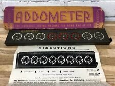 Vintage Addometer Portable Mechanical Adding Machine Stylus And Directions