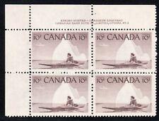 1955 Canada SC# 351 UL Eskimo Hunter Plate No. 4 Plate Block M-NH Lot # 1409