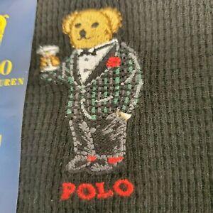 Polo Ralph Lauren Martini Bear Waffle knit Sleepwear L/S shirt Black Sz M NWT