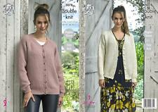 King Cole 5078 Knitting Pattern Womens Easy Knit Cardigans in Merino Blend DK