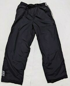 Nike Mens Size Large Black Gray stripe Zip pocket embroidered windbreaker pants