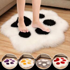 Cute Cat Paw Plush Chair Seat Cushion Shaggy Fluffy Area Rug Carpet Floor Mat