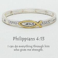 Philippians 4:13 Prayer Bracelet SILVER GOLD Cross Faith Stretch Bible Verse