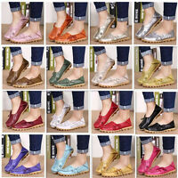 Womens Leather Comfort Casual Walk Bowed Flat Shoes Loafers Moccasin Durable