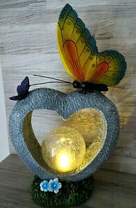 Solarleuchte-Herz mit Solar Kugel und Schmetterlinge--ca. 31 cm-Deko-Solarlampe