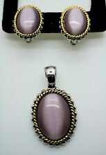 B007 Elegant design Two tone purple cat's eye oval Pendant clip earring Set