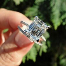 3.02tcw Emerald Moissanite Rings Bridal Set Engagement Ring 925Sterling Silver