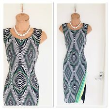 Beautiful FRANK LYMAN Colourful Stretchy Bodycon Jersey Dress Uk 10