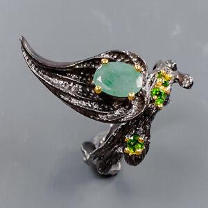 Fine Art Jewelry Emerald Ring Silver 925 Sterling  Size 7.5 /R169560