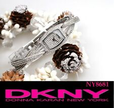 DKNY WOMEN'S ALL  CRYSTALS TWIST LUXURY SILVER WATCH NY8681