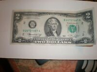 1976 Series $2 Two Dollar Bill  Note LIGHT CIRCULATION BANKNOTE USA