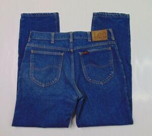 Vtg Lee Riders Men 32 x 28 Work Blue Jeans Medium Wash Denim Union Made USA 90s