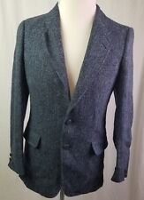 Harris Tweed Vintage Canada 100% Wool 2 Button Sport Coat Blazer Blue/Gray Mens