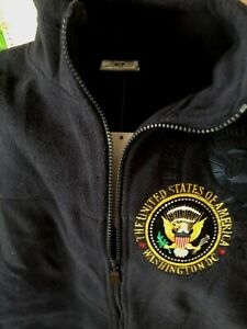 American white house Presidential  Seal  DC Zipped coat Fleece jacket Emb Navy
