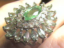 COLOMBIAN natural EMERALD green amethyst RING 8 FRENCH SILVER 925 white GOLD ELE