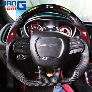 LED Carbon Fiber Steering Wheel for 2015+ Dodge challenger charger HELLCAT SRT