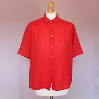 Vintage red round peter pan collar short sleeve blouse size 42 UK 14