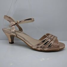 WOMENS LADIES KITTEN MID HEELS EVENING PARTY SANDALS ANKLE STRAP PEEP SHOES SIZE