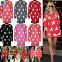 New Ladies Womens sweater Celebrity Seeing Stars Knitted Jumper Oversized Dress
