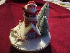 Vtg Wind Up Christmas Music Box Santa In Chimney Reindeer & Sleigh, Jingle Bells