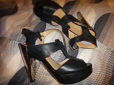 Nine West genevive black Leather high heel Strap Mirror sandals Size 5 RARE!!!!