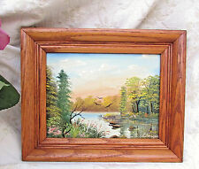 Miniature Original Oil On Board Lakeside Forest Landscape Signed John Meyers