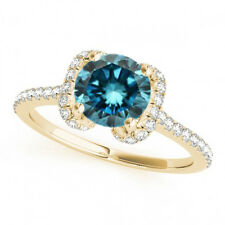 1.03 Cts Fancy Blue Diamond 14k Yellow Gold Trendy Halo Wedding Ring Best Deal