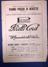pubblicità GOMME PIRELLI (1° ASCARI) - ITALA AUTO - PRO-PHY-LAC-TIC 1926