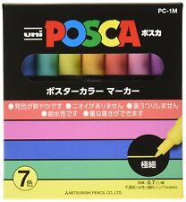 UNI MITSUBISHI PC1M 7C POSCA Paint Marker Pen Extra Fine #Natural 7 colors SET
