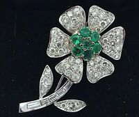 18k White Gold 3.67ctw Round Baguette Diamonds & Emerald Flower Pin Brooch
