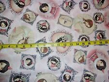 All For Love Framed Patches Allover Pink Cotton Fabric BHTY Santoro Gorjuss