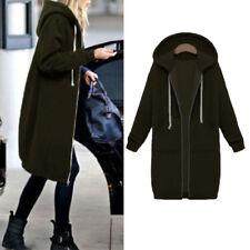 Plus Size Womens Winter Jumper Jacket Coat Cardigan Hooded Long Zipper Outerwear