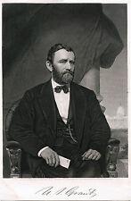 PRESIDENT ULYSSES S. GRANT & ORIGINAL ca 1869 PORTRAIT ENGRAVING