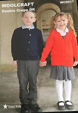 "Wendy DK Knitting Pattern Boys Girls School Cardigan Size 22/30"""