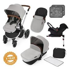 Ickle Bubba Stomp v3 All-in-1 Baby Travel System: Isofix Base - Silver on Silver