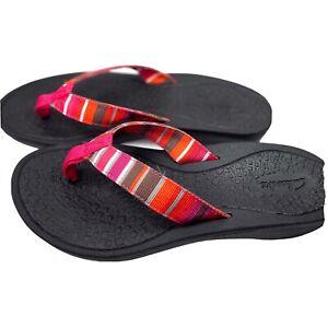 Clarks Womens Stripe Pink White Black Flip Flop Sandal Size 9M NWOT