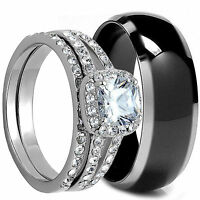 3 PCS HIS and HERS BLACK TITANIUM AND STAINLESS STEEL WEDDING BRIDAL RING CZ SET
