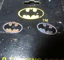 Vintage Licensed DC Comics Batman Oval Logo Studs Sterling Silver Earrings MOC