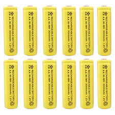 12 pcs AA 3000mAh Ni-MH 1.2V Rechargeable Battery Yellow For Toy RC Solar Light
