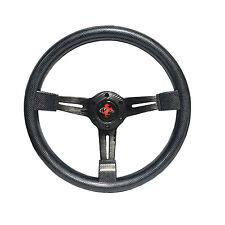 350mm 6 Hole Black 3 Spoke Steering Wheel 8906 Carbon Fiber Style
