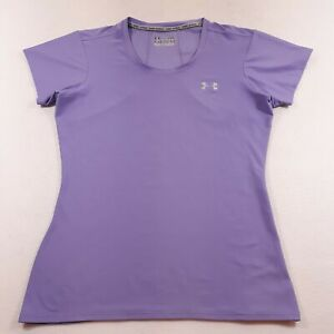 Under Armour T-Shirt Fitted Womens Large Lilac Logo Heatgear Athletic