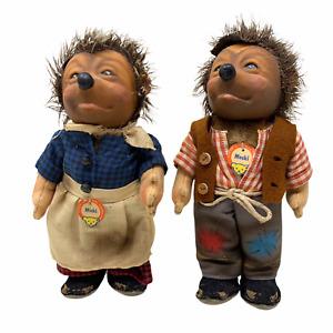"""Vintage Steiff Hedgehogs MICKI und MECKI Couple Original Tags 7"""" 1960's Figures"""