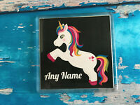 Personalised Unicorn Coaster - Dancing - Jumping - Add any name - Cool gift