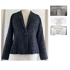 EILEEN FISHER Women's Large Black Water Lily Dimensional Jacquard Jacket EUC