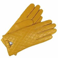 COACH Cashmere Lined Bow Gloves Yellow Quilted for Womens Amber Mustard F83722