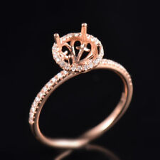 Natural Diamond Semi Mount Engagement Ring Setting Round Cut 7MM 14K Rose Gold