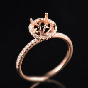 Natural Diamond Semi Mount Engagement Ring Setting Round Cut 7MM 14K Rose Gold