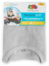 NEW Boy's Fruit of the Loom 2-Piece Thermal Underwear Set Heather Gray