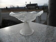 Frosted Clear White Ruffled Display Pedestal Compote Glass Flower Floral Pattern