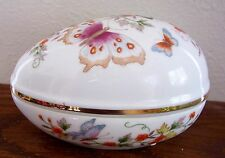 Avon 1974 Butterfly Porcelain Egg Treasure Trinket Box